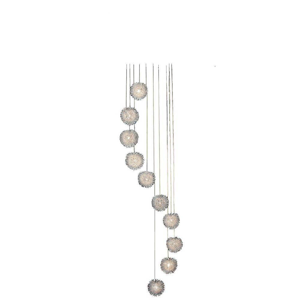 Trend Lighting 10 Light Ceiling Satin Silver Halogen Pendant