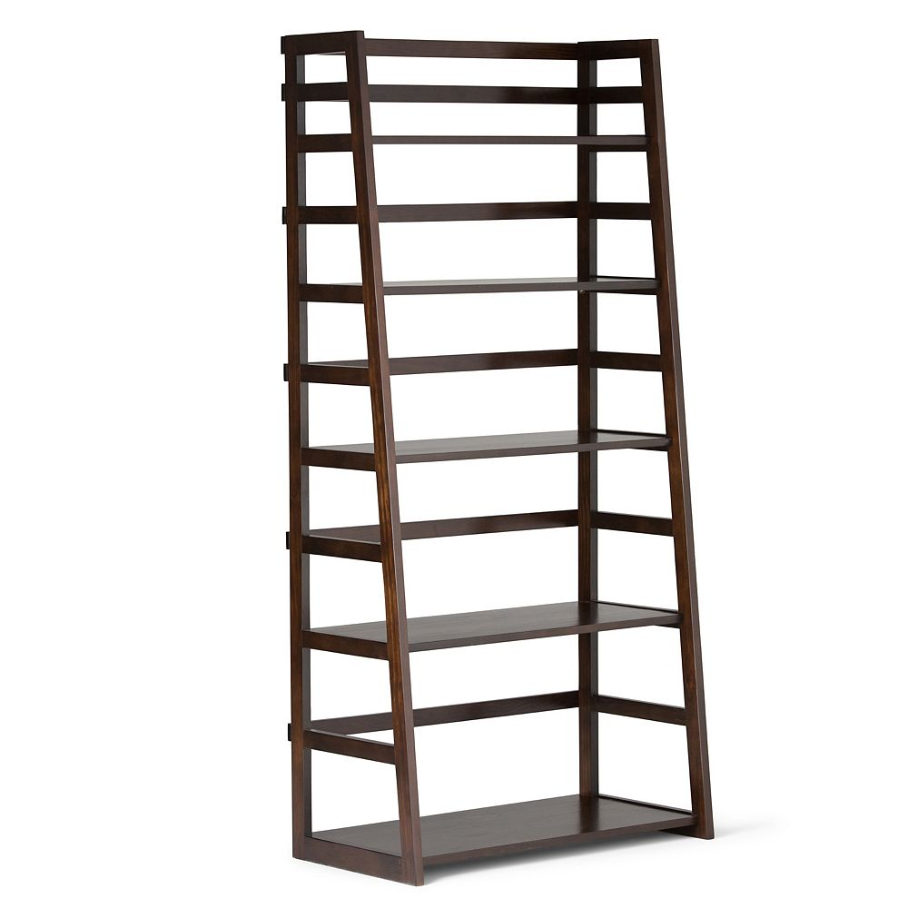 Simpli Home 30-inch x 63-inch x 16-inch Solid Wood Ladder Bookcase in Brown