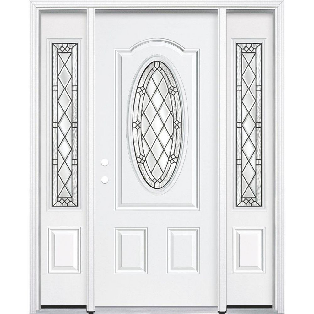Masonite 65-inch x 80-inch x 4 9/16-inch Antique Black 3/4 Oval Lite Right Hand Entry Door with Brickmould