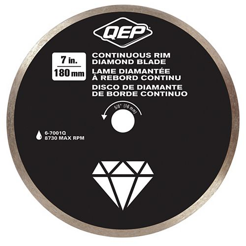 7 Inches Diameter Continuous Rim Diamond Tile Saw Blade 7/8-5/8 Inches Arbor For Wet Cutting