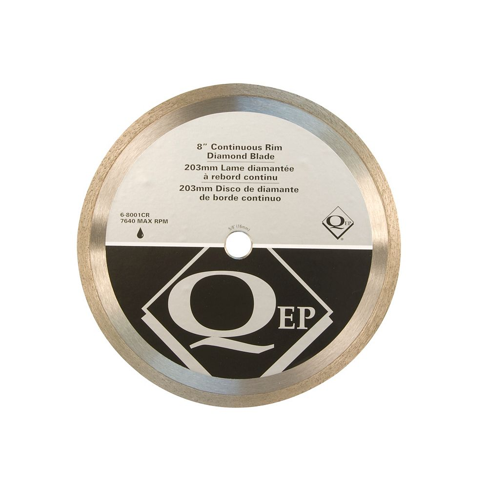 QEP 8 Inches Diameter Continuous Rim Diamond Tile Saw Blade 7/8-5/8 Inches Arbor For Wet Cutting