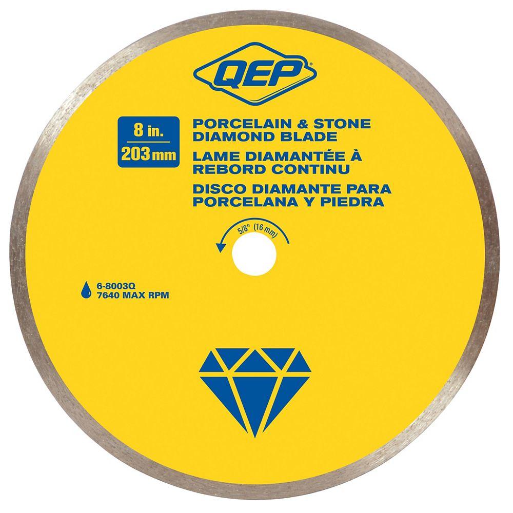 QEP 8 Inches Diameter Continuous Rim Diamond Tile Saw Blade, 5/8 Inches Arbor, For Wet Cutting