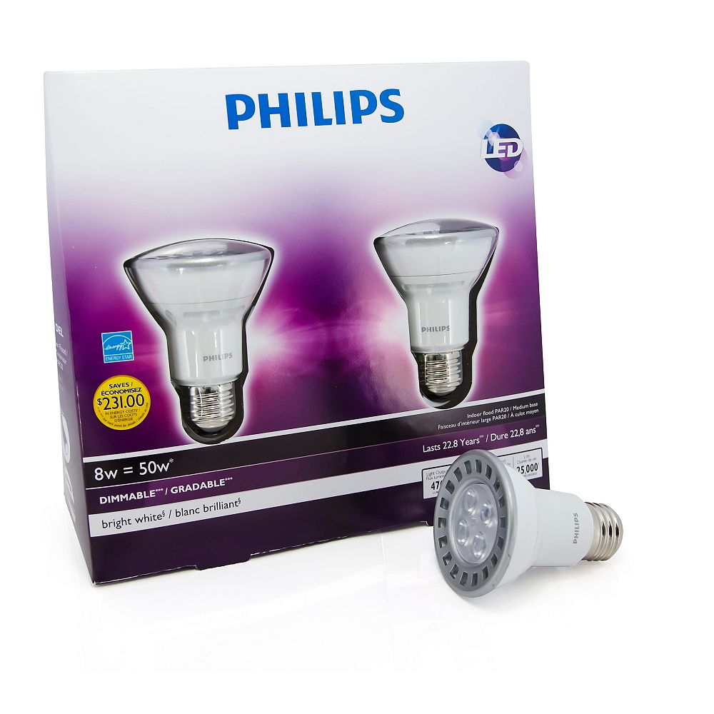 Philips LED 8W = 50W PAR20 Bright White (3000K) - (2-Pack)