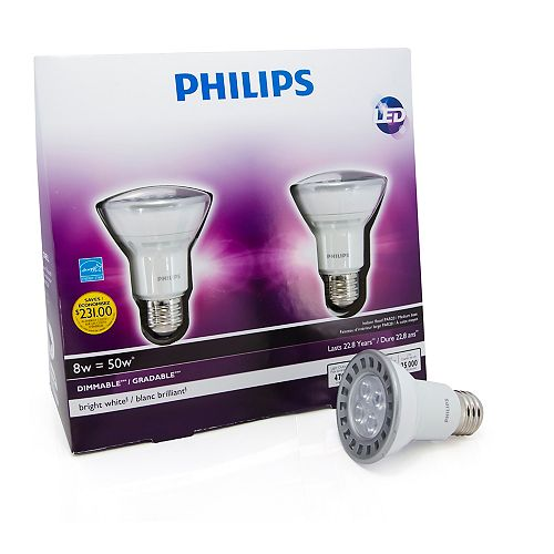 LED 8W = 50W PAR20 Bright White (3000K) - (2-Pack)