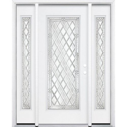 67-inch x 80-inch x 6 9/16-inch Nickel Full Lite Left Hand Entry Door with Brickmould