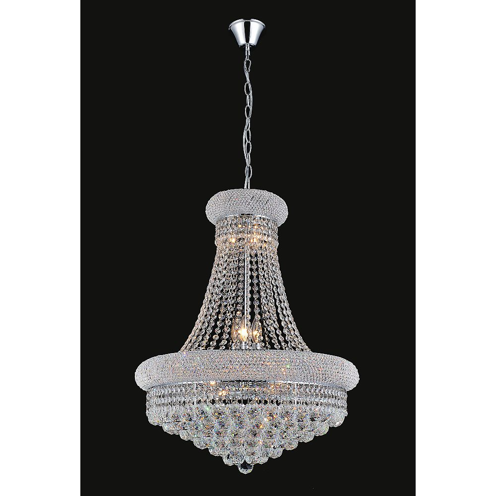 CWI Lighting 20-inch Crystal Beaded Pendent Light Fixture in Polished Chrome