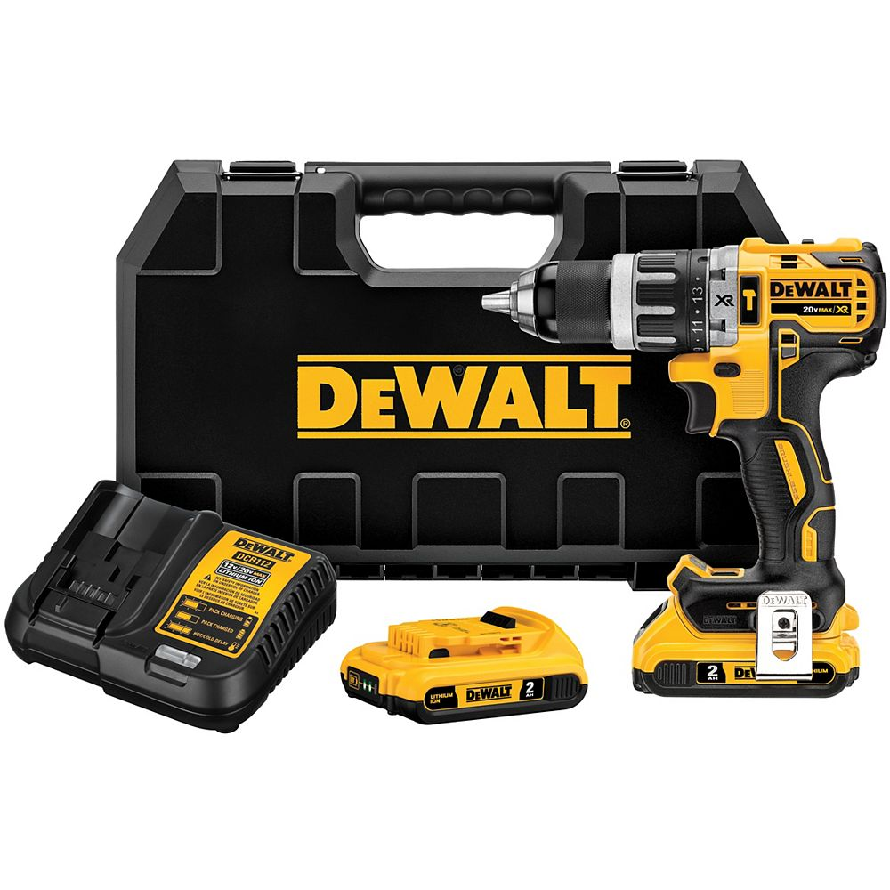 DEWALT 20V MAX XR Lithium-Ion Cordless Brushless 1/2-inch Compact Hammer Drill with (2) 2Ah Batteries, Charger and Case