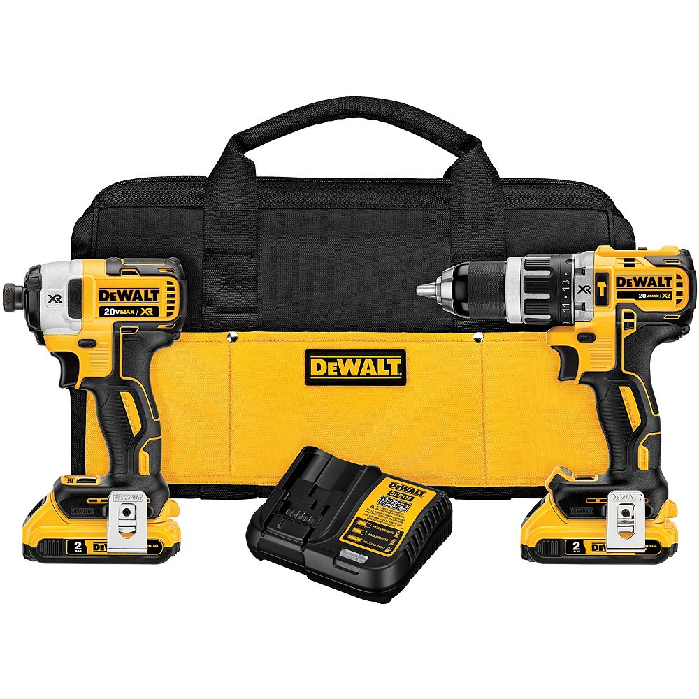 DEWALT 20V MAX XR Lithium-Ion Cordless Brushless Hammer Drill/Impact Combo Kit (2-Tool) with (2) 2Ah Batteries, Charger and Bag