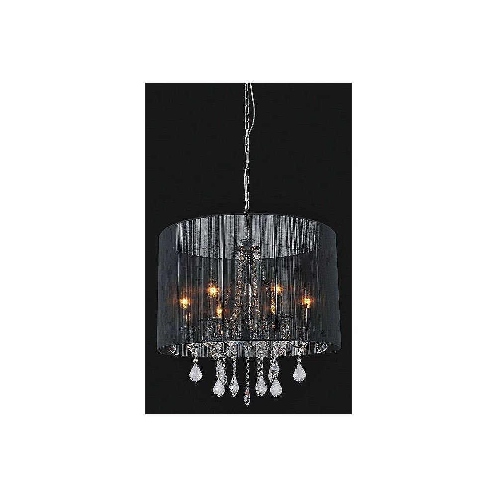 CWI Lighting Black Sheer 6 Light Chandelier