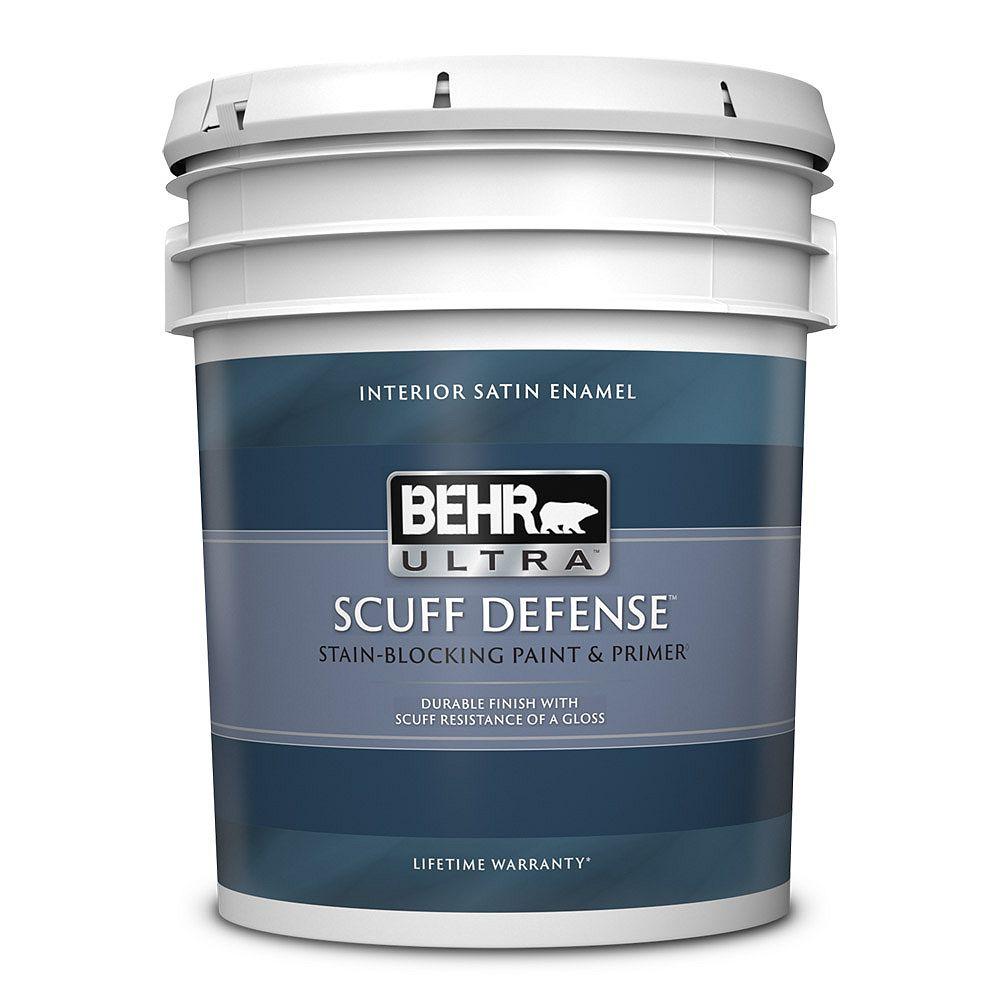 BEHR ULTRA SCUFF DEFENSE Interior Satin Enamel Paint & Primer in Ultra Pure White, 18.9 L