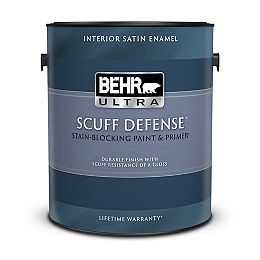 SCUFF DEFENSE Interior Satin Enamel Paint & Primer in Ultra Pure White, 3.79 L