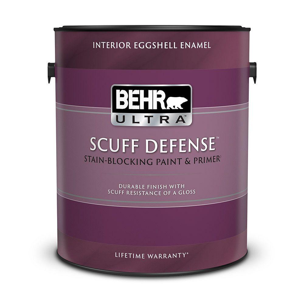 Behr ULTRA SCUFF DEFENSE Interior Eggshell Enamel Paint & Primer in Ultra Pure White, 3.79 L 275001C