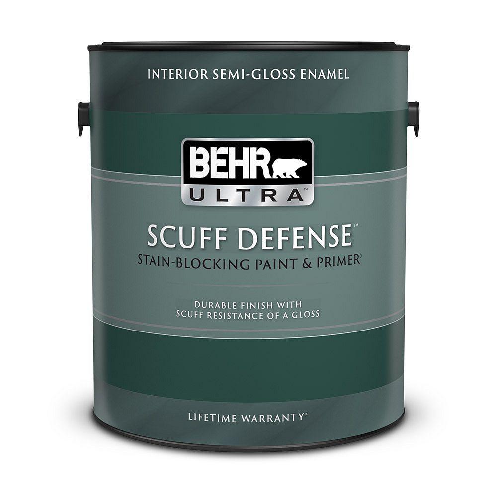 BEHR ULTRA SCUFF DEFENSE Interior Semi-Gloss Enamel Paint & Primer in Deep Base, 3.79 L