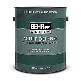 SCUFF DEFENSE Interior Semi-Gloss Enamel Paint & Primer in Ultra Pure White, 3.79 L