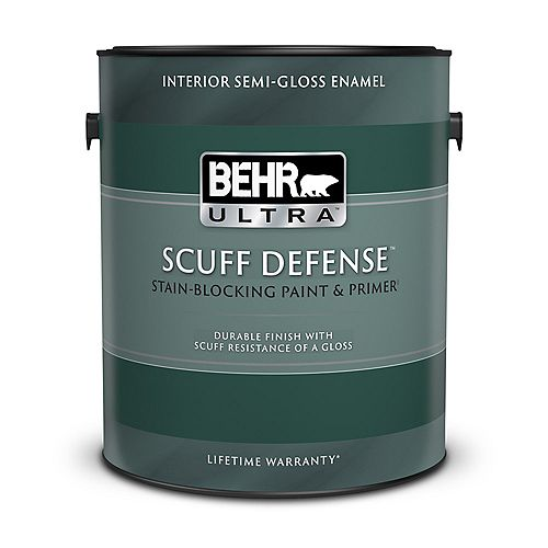 BEHR ULTRA Interior Semi-Gloss Enamel Paint & Primer in One - Ultra Pure White, 3.79L