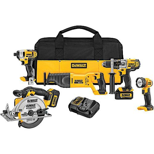 DEWALT 20V MAX Lithium-Ion Cordless Combo Kit (5-Tool) with (2) Batteries 3Ah, Charger and Contractor Bag