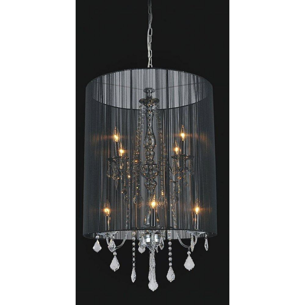 CWI Lighting Black Sheer 8 Light Chandelier
