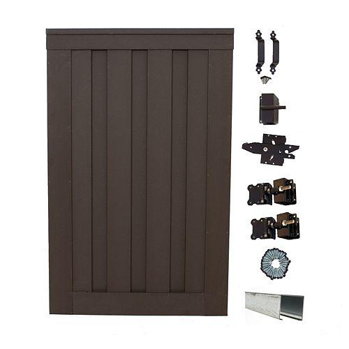 Barrière simple de clôture vie privée composite couleur brun Woodland avec le matériel  6' x 4'