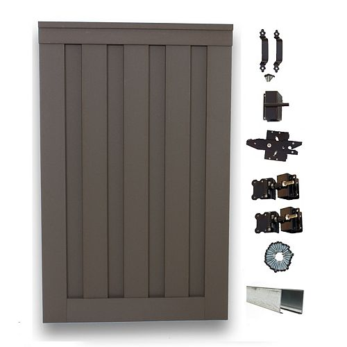 Seclusions 4 ft. x 6 ft. Winchester Grey Wood-Plastic Composite Privacy Fence Single Gate with Hardware