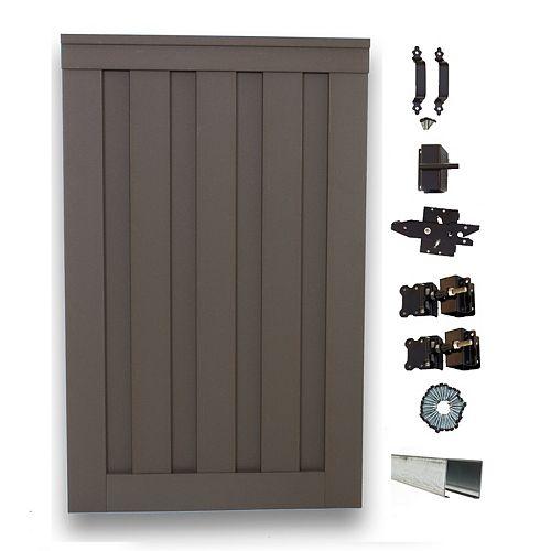 Barrière simple de clôture vie privée composite couleur gris Winchester avec le matériel 6' x 4'