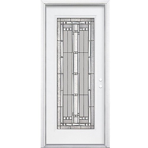 32-inch x 80-inch x 4 9/16-inch Antique Black Full Lite Left Hand Entry Door with Brickmould - ENERGY STAR®