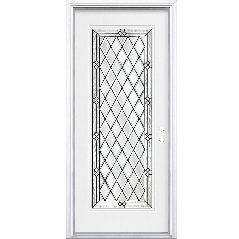 Masonite 34-inch x 80-inch x 4 9/16-inch Antique Black Full Lite Left Hand Entry Door with Brickmould