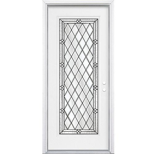 Masonite Porte d'entrée de 34 pouces x 80 pouces x 4 9/16 pouces en noir antique Full Lite pour la main gauche avec moule à briques