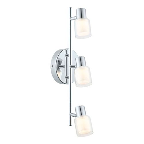 Salti LED Track 3L, Chrome Finish with Frosted & Clear Glass