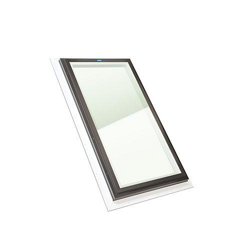 Puits de Lumière 2pi x 4pi Fixe, Solin Intégré verre transparent LoE3 trempée avec cadre noir