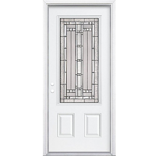 34-inch x 80-inch x 6 9/16-inch Antique Black 3/4-Lite Right Hand Entry Door with Brickmould - ENERGY STAR®