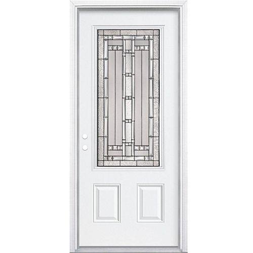 32-inch x 80-inch x 4 9/16-inch Antique Black 3/4-Lite Left Hand Entry Door with Brickmould
