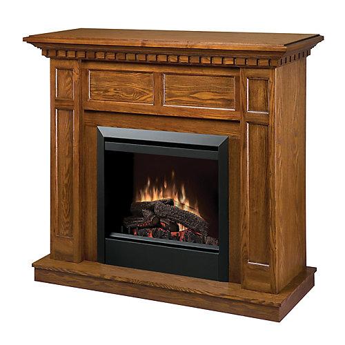 Fireplace Kit, Traditional Warm Oak Mantel, Glass 23 Inches Insert