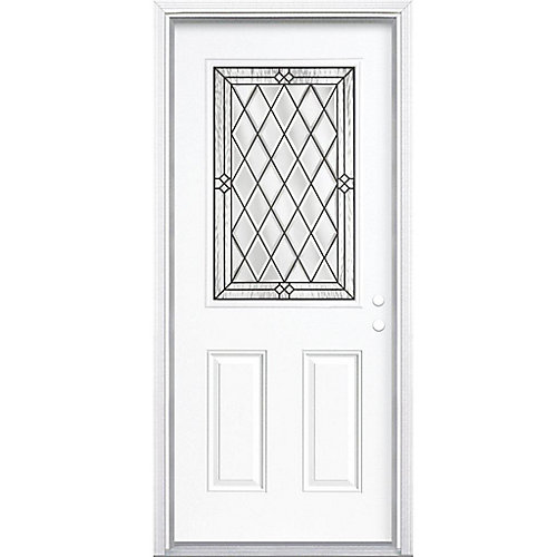 32-inch x 80-inch x 6 9/16-inch Antique Black 1/2-Lite Left Hand Entry Door with Brickmould - ENERGY STAR®
