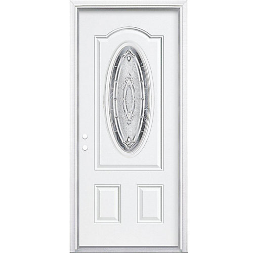 36-inch x 80-inch x 6 9/16-inch Nickel 3/4 Oval Lite Right Hand Entry Door with Brickmould - ENERGY STAR®