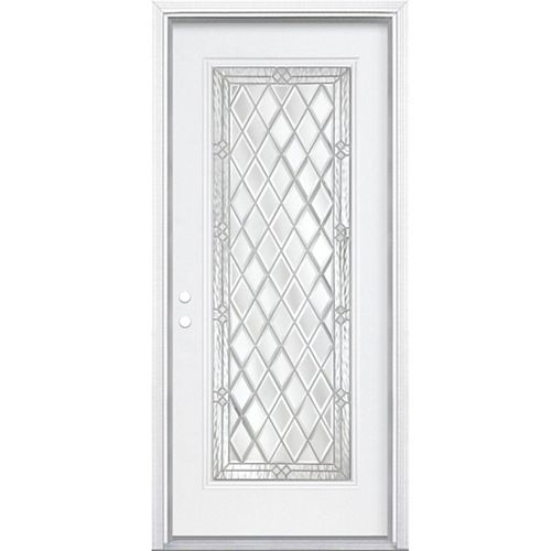 36-inch x 80-inch x 6 9/16-inch Nickel Full Lite Right Hand Entry Door with Brickmould