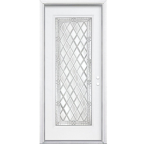 36-inch x 80-inch x 4 9/16-inch Nickel Full Lite Left Hand Entry Door with Brickmould - ENERGY STAR®