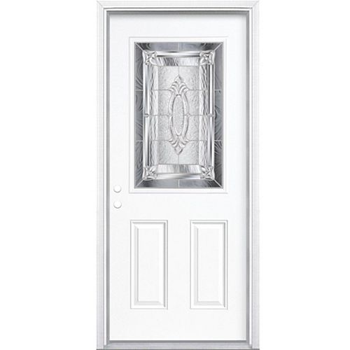 36-inch x 80-inch x 4 9/16-inch Nickel 1/2-Lite Right Hand Entry Door with Brickmould