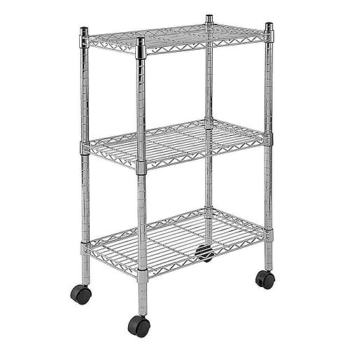 33-inch H x 22-inch W x 13-inch D 3 Shelf Mobile Wire Commercial Shelving Unit in Chrome