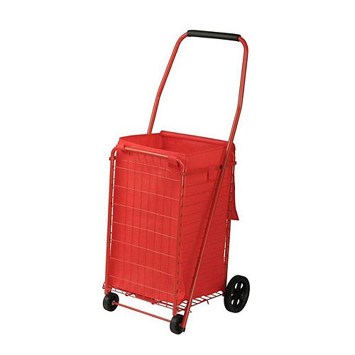12-inch 4-Wheel Utility Cart with Liner in Red
