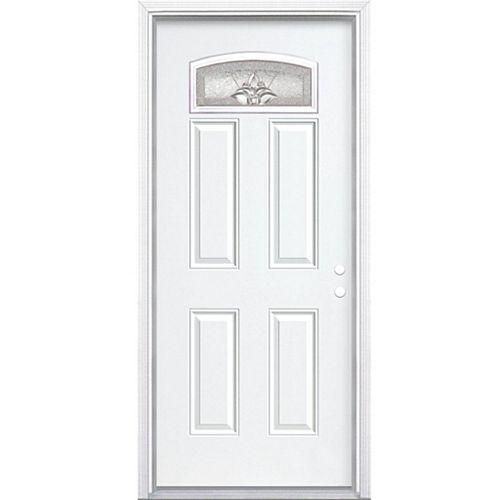 36-inch x 80-inch x 4 9/16-inch Nickel Camber Fan Lite Left Hand Entry Door with Brickmould - ENERGY STAR®