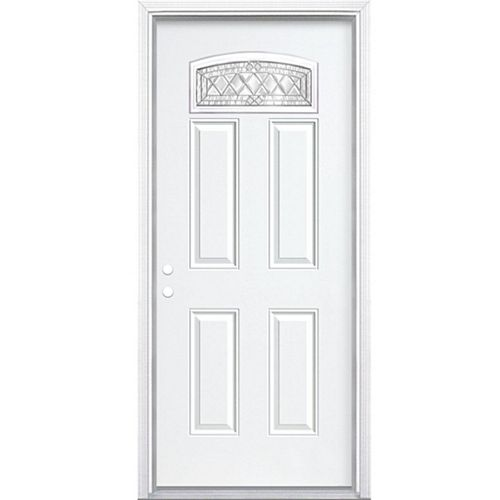 34-inch x 80-inch x 4 9/16-inch Nickel Camber Fan Lite Right Hand Entry Door with Brickmould - ENERGY STAR®