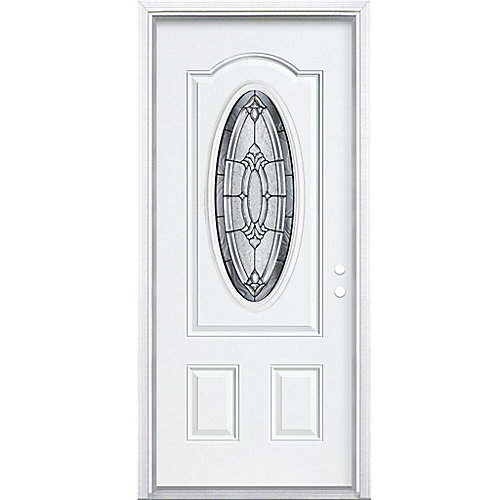 34-inch x 80-inch x 4 9/16-inch Antique Black 3/4 Oval Lite Left Hand Entry Door with Brickmould - ENERGY STAR®