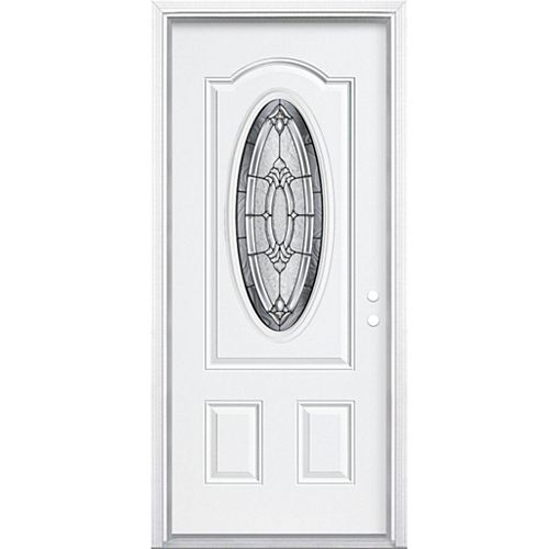 Masonite 34-inch x 80-inch x 4 9/16-inch Antique Black 3/4 Oval Lite Left Hand Entry Door with Brickmould