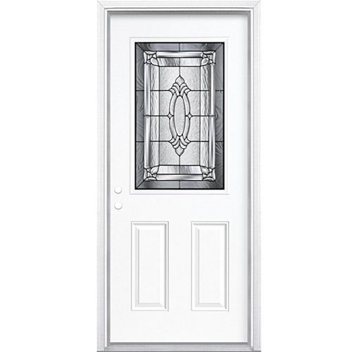 36-inch x 80-inch x 4 9/16-inch Antique Black 1/2-Lite Right Hand Entry Door with Brickmould