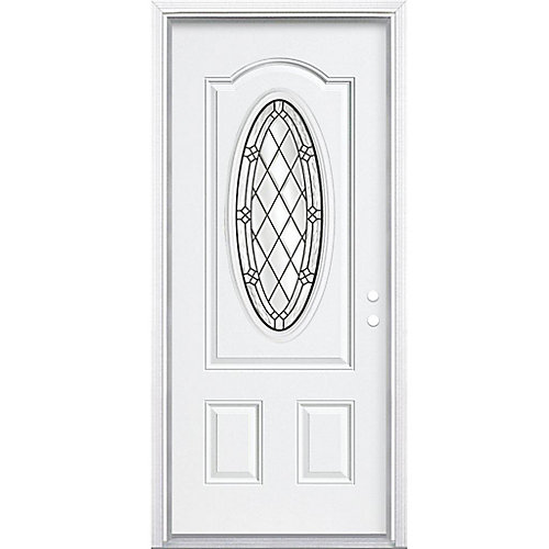 32-inch x 80-inch x 4 9/16-inch Antique Black 3/4 Oval Lite Left Hand Entry Door with Brickmould - ENERGY STAR®