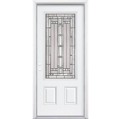 36-inch x 80-inch x 6 9/16-inch Antique Black 3/4-Lite Right Hand Entry Door with Brickmould