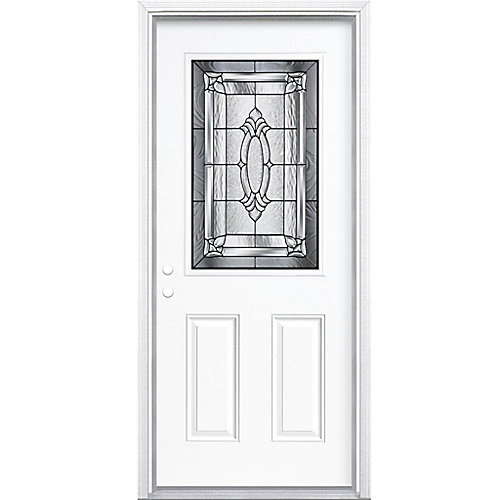 34-inch x 80-inch x 6 9/16-inch Antique Black 1/2-Lite Right Hand Entry Door with Brickmould - ENERGY STAR®
