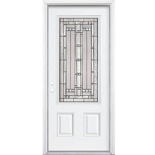Masonite Porte d'entrée droite de 32 pouces x 80 pouces x 6 9/16 pouces, noir antique 3/4 lumières, avec moule à briques