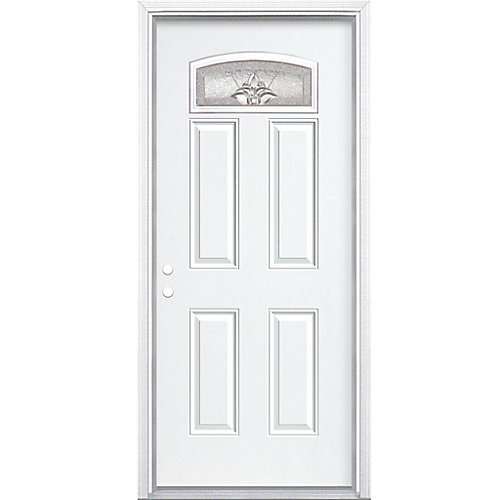 36-inch x 80-inch x 4 9/16-inch Nickel Camber Fan Lite Right Hand Entry Door with Brickmould - ENERGY STAR®