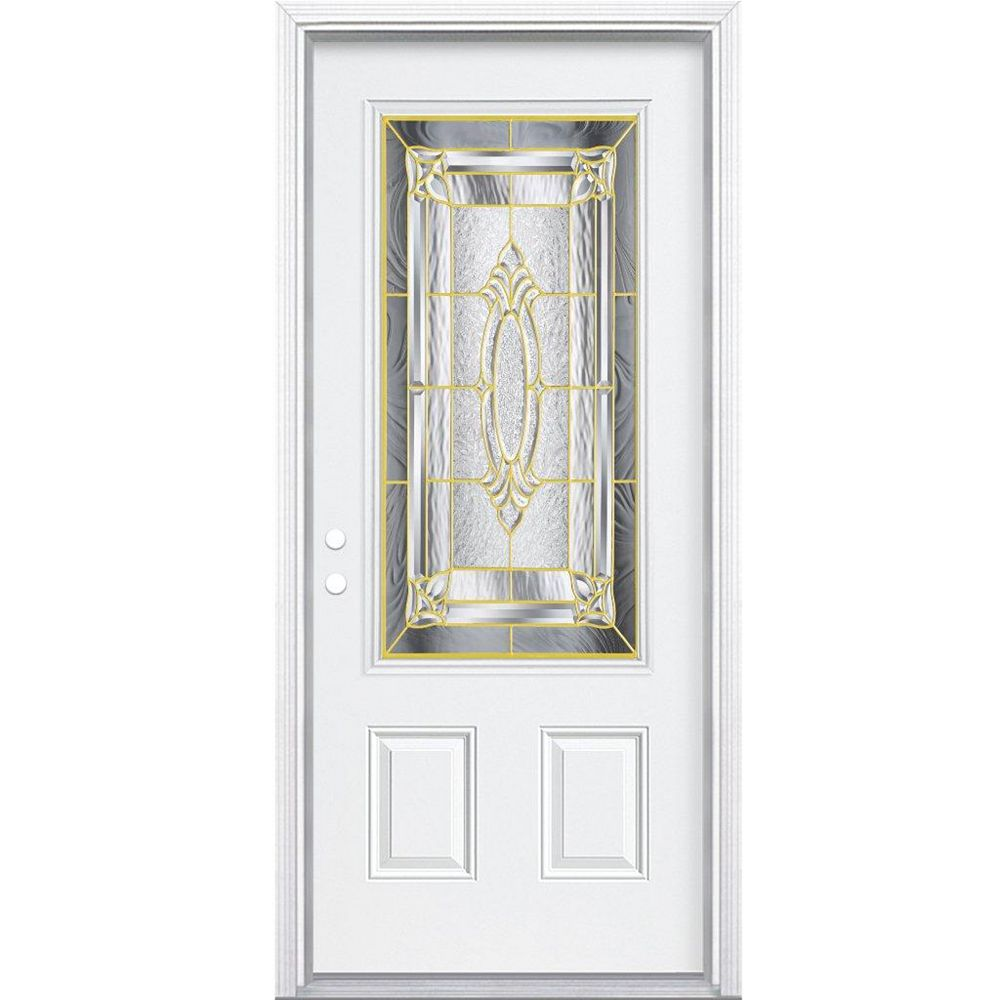 Masonite 32-inch x 80-inch x 6 9/16-inch Brass 3/4-Lite Right Hand Entry Door with Brickmould